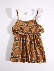 cheap -Girls' Daily Geometric Clothing Set, Cotton Summer Khaki