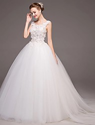 Ball Gown Scoop Chapel Train Tulle Wedding Dress with Appliques Lace Flower by DRRS