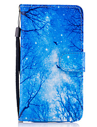 cheap -For Samsung Galaxy A3 A5 (2017) Case Cover Blue Woods Pattern Painted Card Stent PU Material Phone Case A5 (2016)