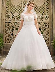 vestito da cerimonia nuziale del merletto di lunghezza del pavimento del collo del paletto della principessa dell'abito di sfera di huaxirenjiao