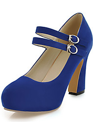 cheap -Women's Heels Spring Summer Club Shoes Leatherette Party & Evening Dress Chunky Heel Buckle Blue Yellow Beige Black