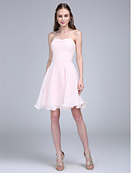 cheap -A-Line Spaghetti Straps Knee Length Chiffon Bridesmaid Dress with Ruching by LAN TING BRIDE®