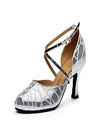 "Women's Latin Leather Heel Indoor Buckle Cuban Heel Silver 2"" - 2 3/4"" Non Customizable"