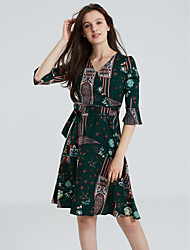Women's Going out Sophisticated A Line Chiffon Dress,Print V Neck Above Knee ½ Length Sleeve Flare Sleeve Polyester Green Spring High Rise
