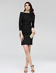 cheap -Sheath / Column Off Shoulder Short / Mini Jersey Little Black Dress Cocktail Party Dress with Ruched by TS Couture®