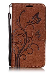 cheap -Case For Samsung Galaxy A5(2017) A3(2017) Card Holder Wallet with Stand Flip Magnetic Embossed Full Body Cases Solid Color Butterfly Tree
