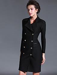 Baoyan® Damen V-Ausschnitt Lange Ärmel Über dem Knie Kleid-14561