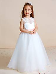 cheap -Ball Gown Floor Length Flower Girl Dress - Lace Organza Sleeveless Jewel Neck by Weishang