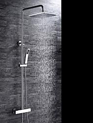 Moderne Montage mural Thermostatique Soupape céramique Deux poignées trois trous Chrome , Robinet de douche