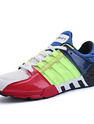 Homme Chaussures d'Athlétisme Confort Polyuréthane Printemps Automne Extérieure Décontracté Lacet Talon Plat Gris Noir/blanc Arc-en-ciel