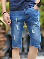 cheap -Men's Straight Shorts Jeans Pants - Solid Colored Block