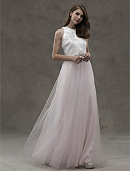 cheap -A-Line Jewel Neck Floor Length Satin Tulle Bridesmaid Dress with Appliques by LAN TING BRIDE®