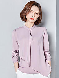 Women's Work Simple Spring Shirt,Solid Stand Long Sleeves Others Thin