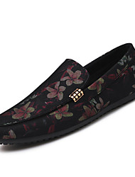 Men's Loafers & Slip-Ons Spring Fall Comfort Customized Materials Outdoor Athletic Casual Flat Heel Flower Black/White Black/Red