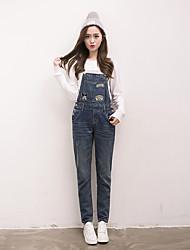 economico -Da donna A vita alta Casual Media elasticità Dritto Jeans Tuta da lavoro Pantaloni,Tinta unita Quattro stagioni