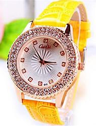 cheap -Women's Wrist watch Quartz Leather Band Black Gold Yellow