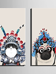 cheap -E-HOME Stretched Canvas Art Lovely Peking Opera Animals Decoration Painting One Pcs