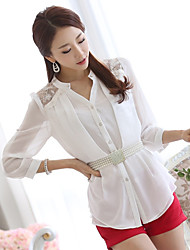 Sign Korea Sign 2016 spring new Slim V-neck long-sleeved chiffon shirt female long section