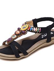 cheap -Women's Sandals Spring Summer Fall Comfort Light Soles PU Office & Career Dress Casual Flat Heel Beading Gore Almond Black Walking
