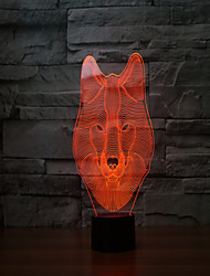 cheap -The New 2017 Wolves 3 D Lamp 7 Colour Touch Rechargeable LED Visual Light  Projection Lamp  Touch Lamps