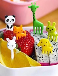cheap -1 Set 10Pcs New Animal Farm Mini Cartoon Fruit Fork Sign Resin Fruit Toothpick Bento Lunch For Children Decorative Plastic Random Shape