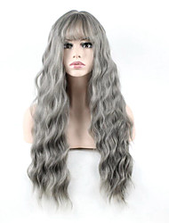 Long Natural Wave Wig Women Cosplay Wigs Grey Color Synthetic Hair High Temperature