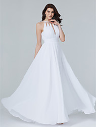 A-Line Jewel Neck Floor Length Chiffon Formal Evening Dress with Beading Draping Sash / Ribbon by TS Couture®