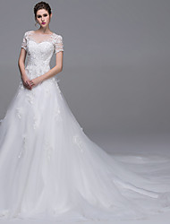 A-Line Illusion Neckline Cathedral Train Tulle Wedding Dress with Beading Pearl Sequin by DRRS