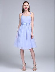 A-Line Spaghetti Straps Knee Length Tulle Bridesmaid Dress with Bow(s) Criss Cross by LAN TING BRIDE®