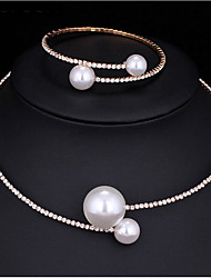 cheap -Women's AAA Cubic Zirconia Imitation Pearl Jewelry Set 1 Necklace 1 Bracelet - Multi-ways Wear Fashion Round Jewelry Set Pearl Necklace