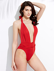 cheap -Women's Plunging Sexy Deep V Halter One-piece Solid Sexy Ligerie Backless Swimwear