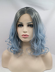 2017 Sylvia Synthetic Lace Front Wigs Bob Wavy Black Blue Ombre Heat Resistant Synthetic Wig