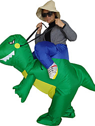 cheap -Riding A Dinosaur Cosplay Costume Halloween Props Masquerade Inflatable Costume Movie Cosplay Green Leotard/Onesie More Accessories Air