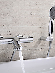 Contemporary Wall Mounted Thermostatic Ceramic Valve Two Handles Two Holes Chrome , Bathtub Faucet