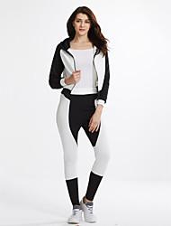 Mujer Simple / Activo Casual/Diario / Deportes Primavera / Otoño Camiseta Pantalón Trajes,Cuello Camisero Bloques Manga Larga Poliéster