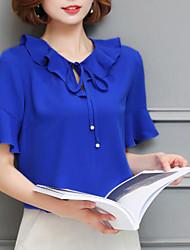 Feminino Blusa Para Noite VintageSólido Outros Decote Redondo Manga Curta