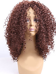 billige -Syntetiske parykker Krøllet Syntetisk hår Afro-amerikansk paryk Brun Paryk Dame Medium Længde Lågløs Beige