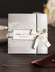 Tri-Fold Wedding Invitations 50-Invitation Cards Modern Style Pearl Paper Ribbon Bow Laces