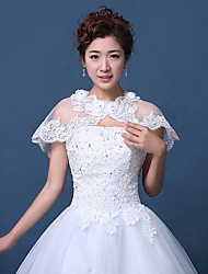 cheap -Lace Tulle Wedding Party Evening Women's Wrap With Rhinestone Appliques Embroidery Lace Capelets