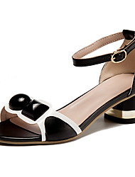 cheap -Women's Shoes Leather Summer Comfort Sandals Walking Shoes Low Heel Round Toe Buckle White / Black / Pink