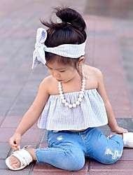 Girls' Daily Beach Holiday Solid Sets Cotton Summer Long Pant Kids Baby Clothing Set