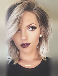 cheap -Human Hair Capless Wigs Human Hair Natural Wave Bob Haircut / Layered Haircut / With Bangs Ombre Hair / Dark Roots / Side Part Machine Made Wig Women's