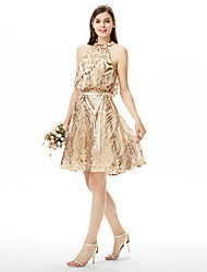 cheap -A-Line Jewel Neck Knee Length Sequined Bridesmaid Dress with Sequin Bow(s) Sash / Ribbon by LAN TING BRIDE®