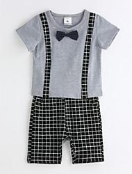 Drenge Indstiller Afslappet/Hverdag Ensfarvet,Bomuld Sommer Kortærmet Tøjsæt