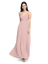 cheap -A-Line Straps Floor Length Chiffon Bridesmaid Dress with Criss Cross / Ruched by LAN TING BRIDE®