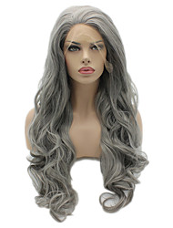 cheap -Synthetic Lace Front Wig Body Wave Natural Hairline Gray Women's Lace Front Carnival Wig Halloween Wig Natural Wigs Long Synthetic Hair