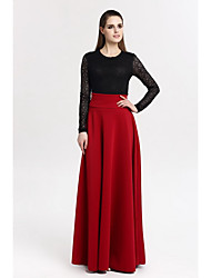 Women's Going out Maxi Skirts,Sophisticated Swing Solid Spring