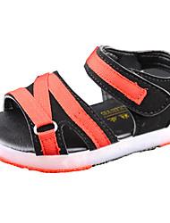 cheap -Boys' Sandals Comfort PU Spring Summer Casual Comfort Hook & Loop LED Flat Heel Black Orange Ruby Green Flat