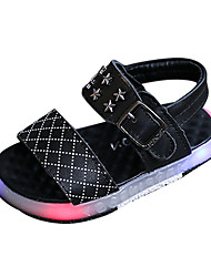 cheap -Girls' Sandals Comfort PU Spring Summer Casual Comfort LED Flat Heel White Black Flat
