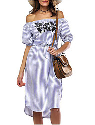 cheap -Women's Holiday / Going out Street chic Sheath Dress - Striped / Embroidered High Rise Asymmetrical Boat Neck / Summer / Embroidery